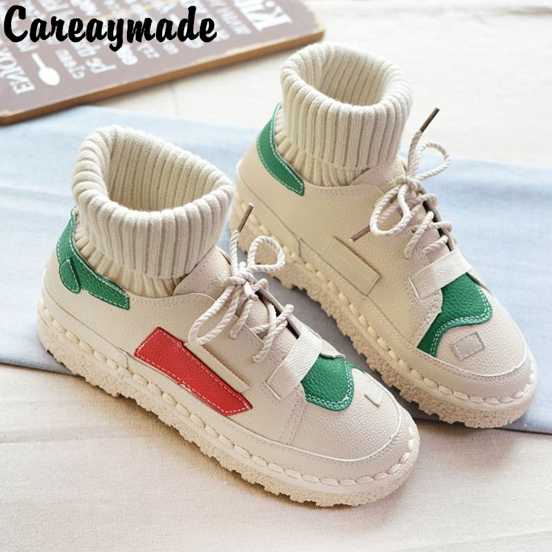 Careaymade-Hand made Korean new style boots, warmth art and wool thin boots, the retro art mori girl soft Flat Boots,3 colors