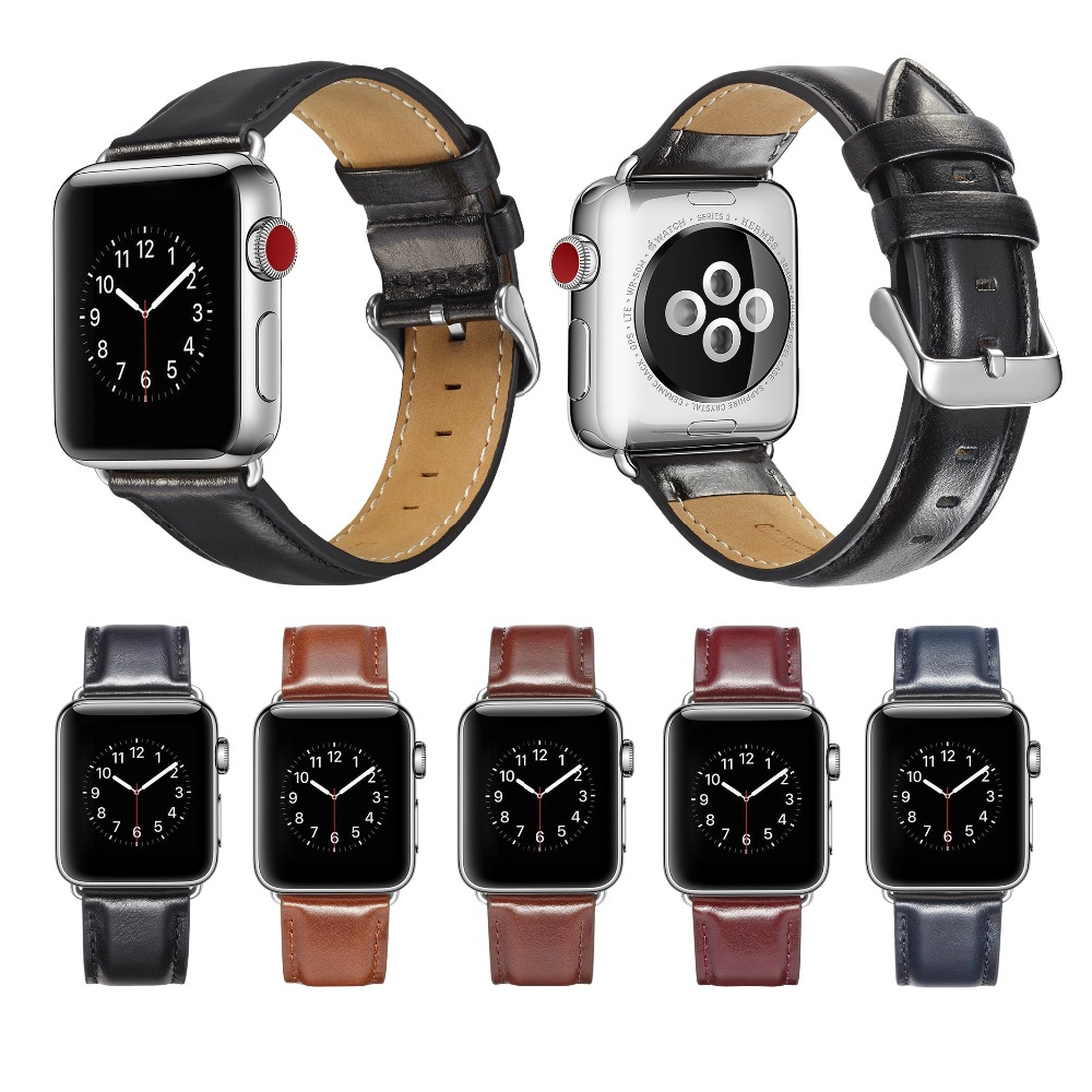 Genuine Leather Band for Apple IWatch 42mm 38mm Replacement Wristband Retro Crazy Horse Texture for Apple Watch Series 3 2 1 cowhide genuine leather strap watch band for apple watch iwatch series 1 series 2 38mm 42mm wristband replacement with adapter