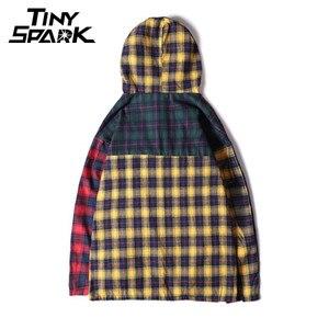 Image 2 - טלאי סוודר משובץ ארוך שרוול נים חולצות Mens היפ הופ רוכסן כיס מזדמן חולצות אופנה Streetwear 2020 סווטשירט