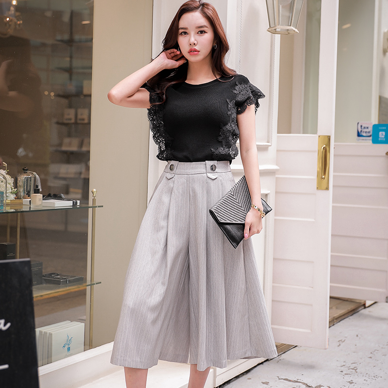 Dabuwawa Spring Women   Wide     Leg     Pants   Solid MIid Button Pleated Loose Cropped trousers   Pants   D17ACT002