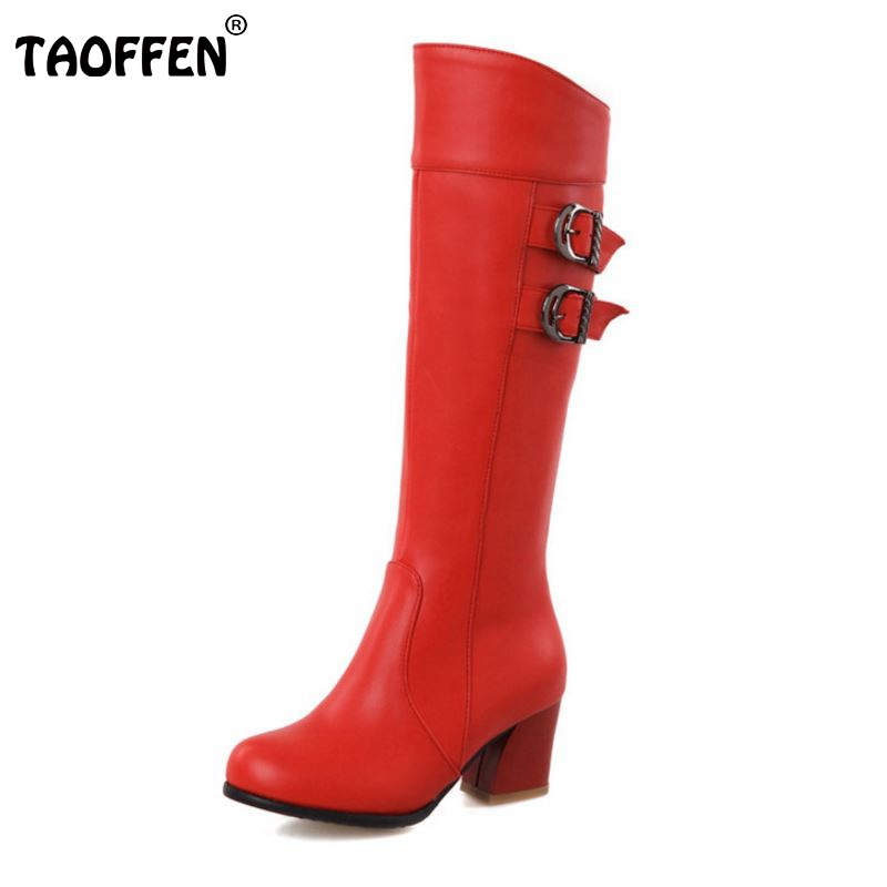 Women Square Heels Over Knee Boot Winter Snow Warm Long Boots Riding Buckle Botas Mujer Quality Footwear Shoes Size 28-52 black smooth leather women pointed toe ankle buckle pumps deep v back ladies blade heel shoes spring fashion female dress shoes