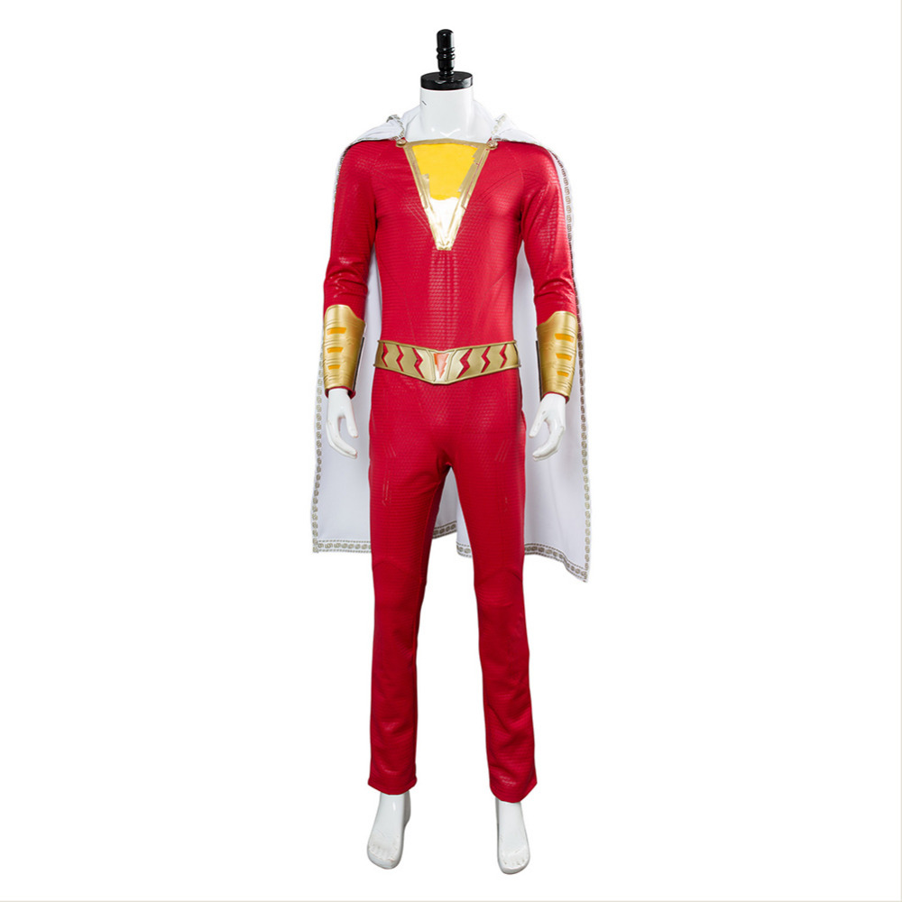 Shazam Cosplay Captain Marvel Costume Billy Batson Jumpsuit Costumes Shoes Marvel Suit Superhero Halloween Adults Men Customized