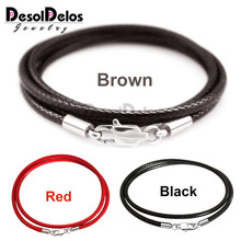 1.5mm 2mm 3mm Black Necklace Cord Leather Cord Wax Rope Chain 316L Stainless Steel Lobster Clasp Men Women DIY Necklace Jewelry wholesale 2mm black brown red wax leather cord necklace rope 45 5cm chain lobster clasp diy jewelry accessories 100pcs fast