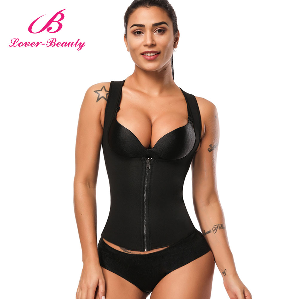28c1ef78ac4 Lover Beauty Women Neoprene Sauna Sweat Waist Trainer Vest With Zipper for  Weight Loss Workout Body Shaper Tank Top Shirt A-in Tops from Underwear ...