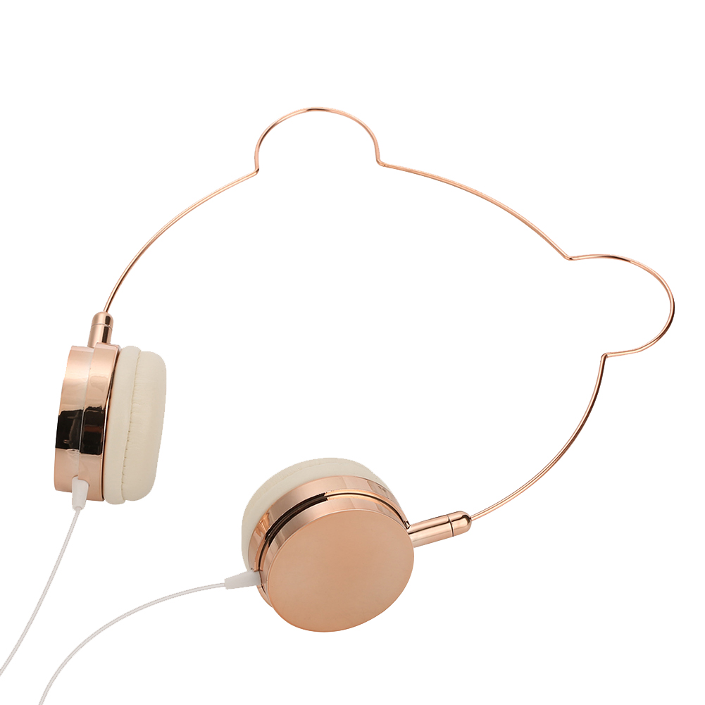 Cute Stereo Home Wired Gift Headphone Travel Music Fashionable Bear Ear Rose Gold With Microphone Girls 3.5mm