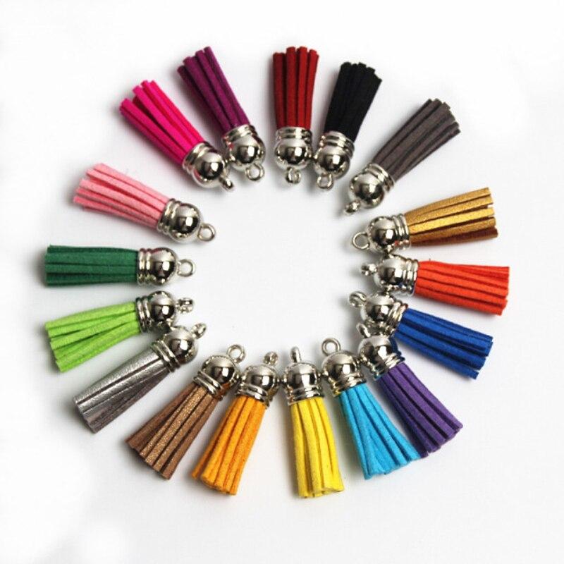 Silver Color Cap Tassel Vintage 10pcs 38mm Leather Tassels for Jewelry Making DIY Fringe Keychain Cellphone Straps Pendant