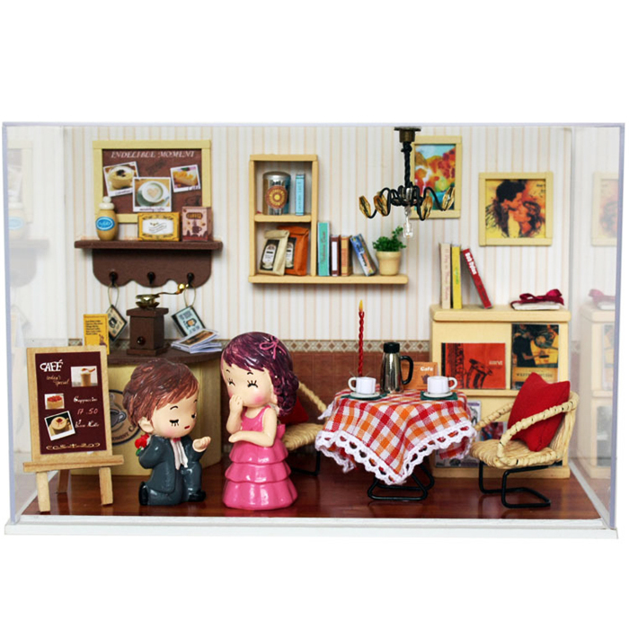 Marry Me DIY Assemble Wooden Dollhouse Miniature Doll House With LED Furnitures Creative Gift