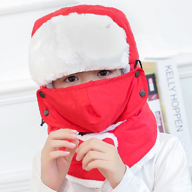Winter Hat Mask Russian-Hat Earflap Trapper-Cap Snow Girls Kids Boys Ski with Thick Warm