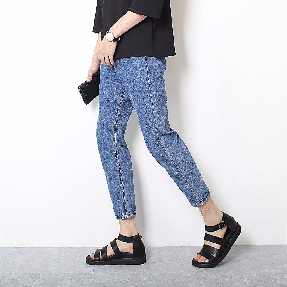 High Quality 2020 Wholesale Men's Solid Cowboy Casual Jeans Men  Hip Hop Tennagers Students Harem Pants Blue Denim Trousers