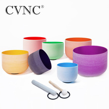 CVNC Perfect Pitch 8 - 14  Chakra Tuned Set of 7pcs Color Frosted Quartz Crystal Singing Bowls Chile