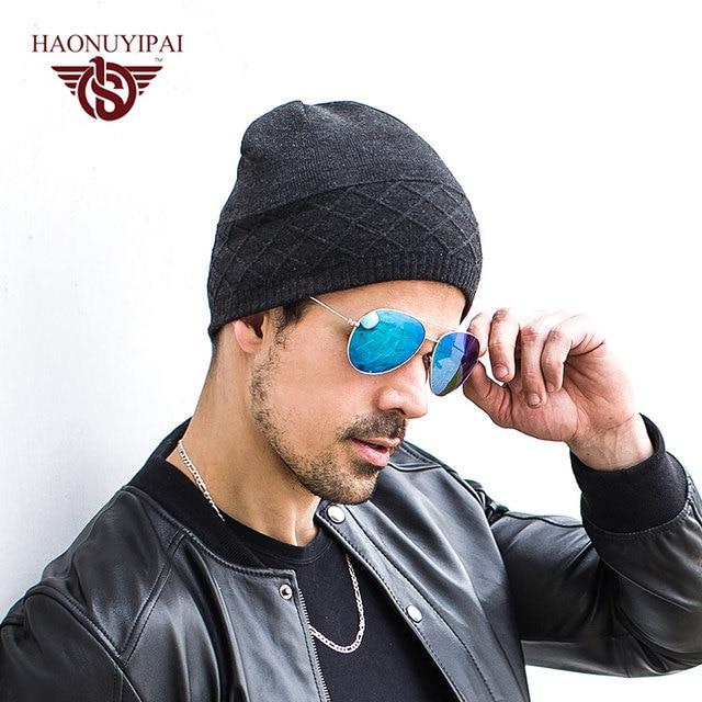 2016 de Alta Calidad Nueva Moda de Invierno de la Gorrita Tejida Sombreros  Para Hombres de 9d31fe09d0f