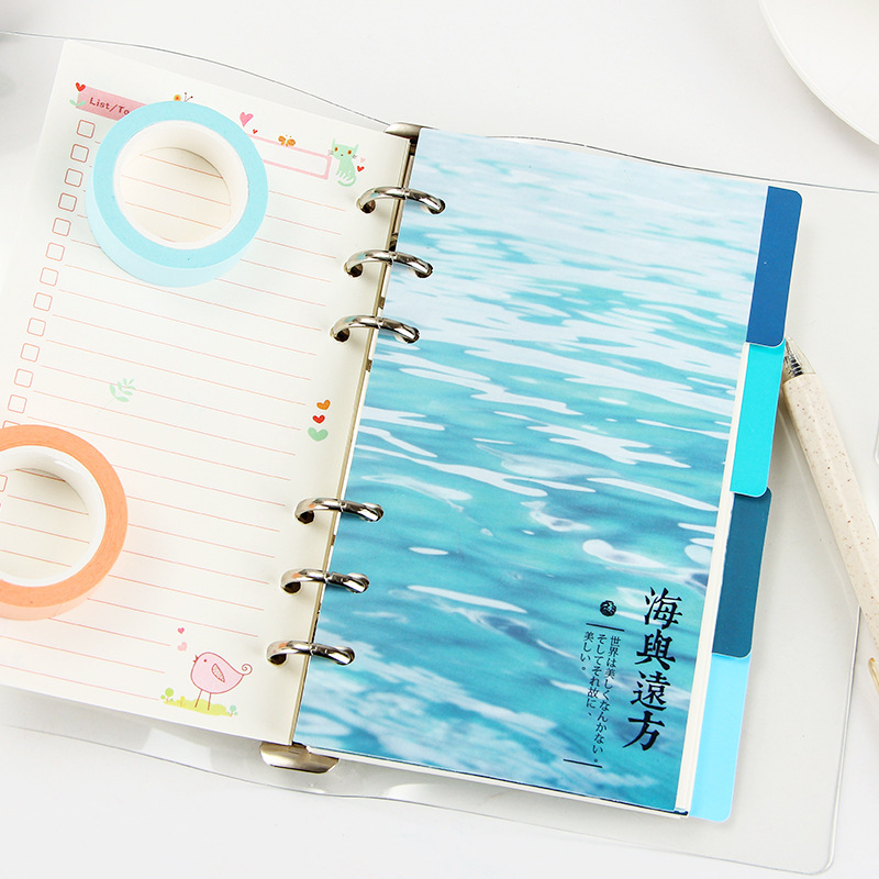 EZONE 4 Sheets A5/A6 6 Holes PP Colored Notebook's Index Page Matte Loose-leaf Book Category Page Office Planner Stationery Gift Islamabad