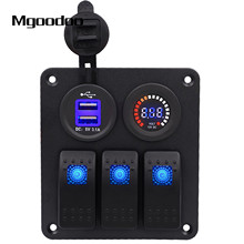 Mgoodoo 3 Gang Rocker Switch Panel W/ Voltmeter DC 12V/24V Dual USB Charge Slot Waterproof For Marine Boat Car Van Vehicle Truck waterproof 12 24v led dual digtal voltmeter battery test panel rocker switch for car motorcycle truck marine boat free shipping