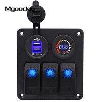 Mgoodoo 3 Gang Rocker Switch Panel W Voltmeter DC 12V 24V Dual USB Charge Slot Waterproof
