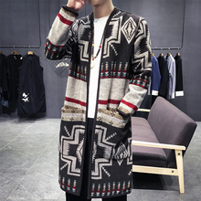 Spring Thin Knitting Trench Mens Printed Pocket Open Stitch Straight Casual Pattern Mens Trench Fashion