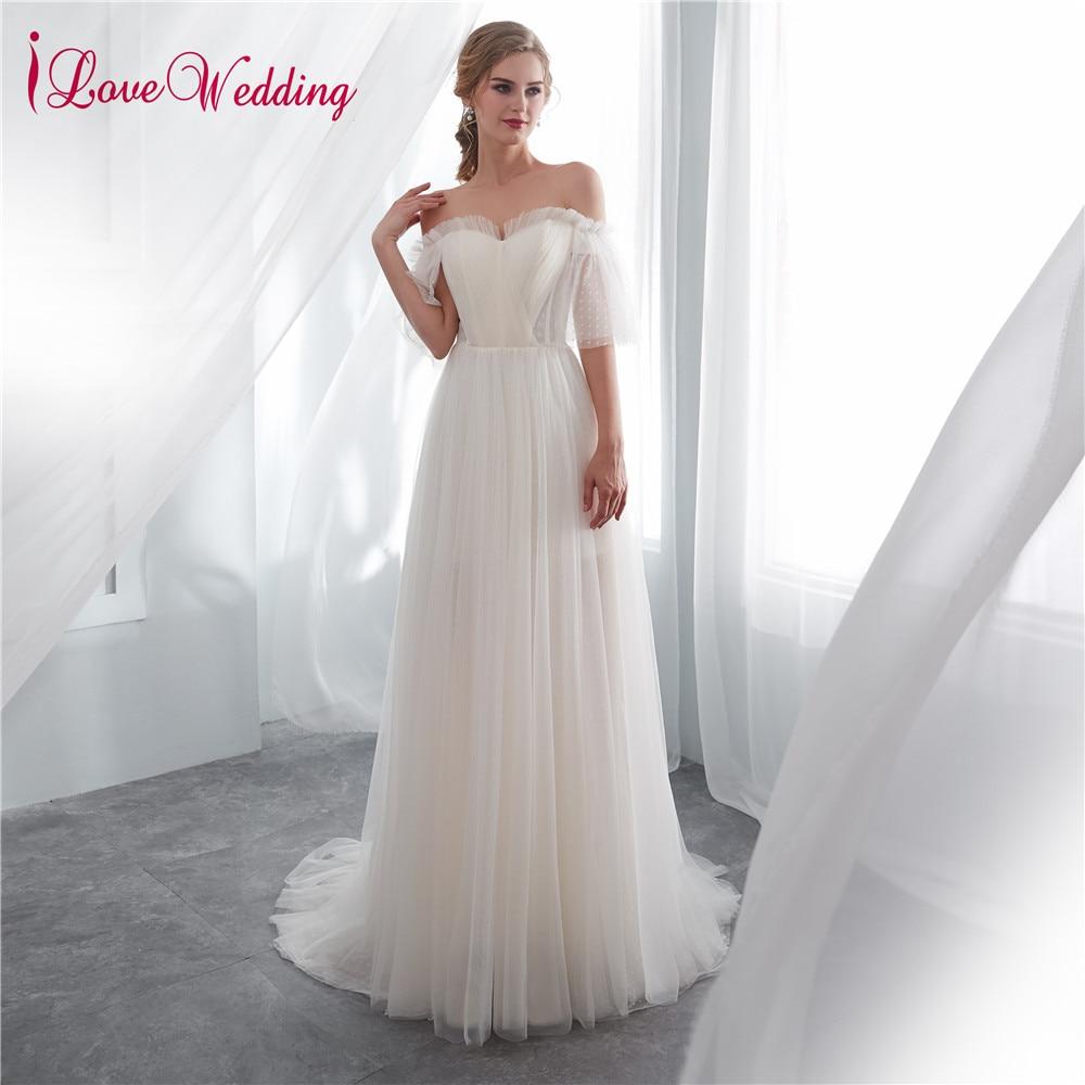 iLoveWedding Vestido de noiva Sweetheart A Line Off the Shoulder Soft Tulle Sweep Train Short Sleeve Wedding Dresses Real Photo
