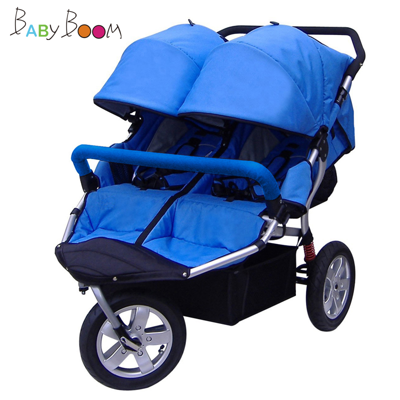 Babyboom off-road twins baby stroller shock pneumatic wheels double baby stroller fashion twins stroller four color to choose hot twins baby stroller with good shock absorption folded double child stroller