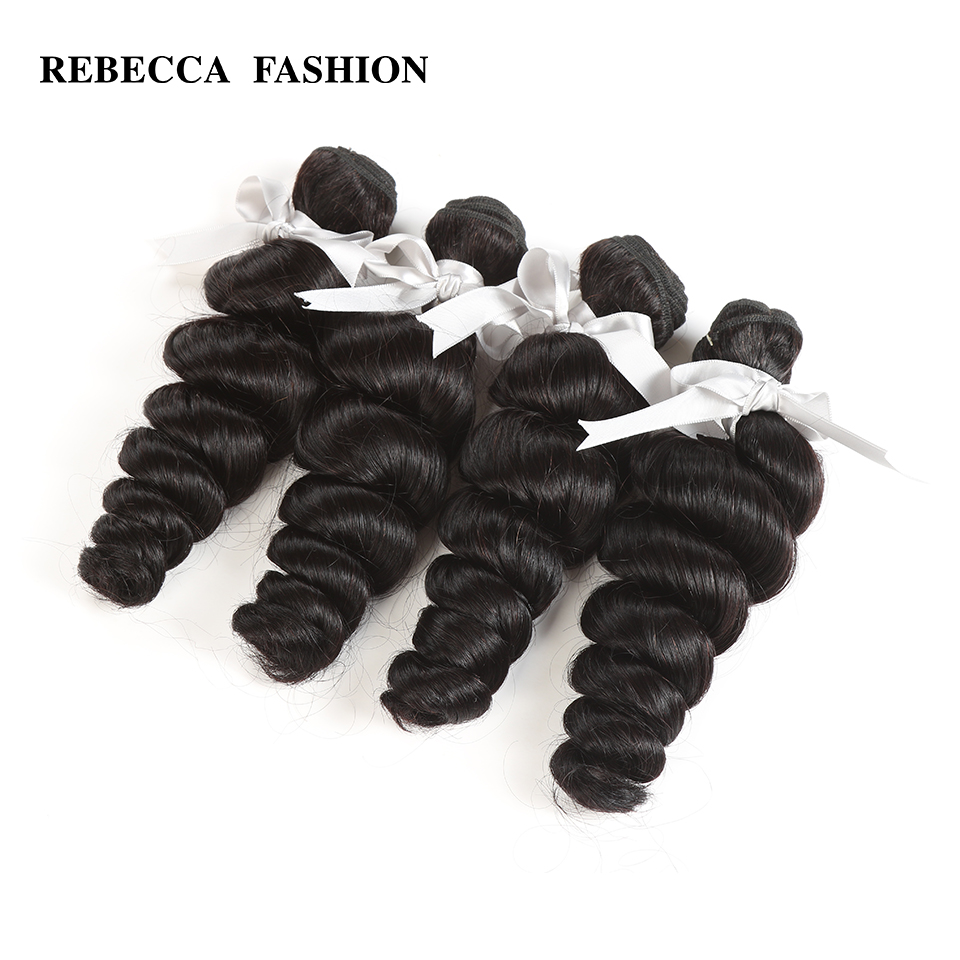 Rebecca Peruvian Loose Wave Human Hair Weave Bundles Non Remy 10 To 26 Inch Hair Weft Extensions Free Shipping 4 Bundles Deals