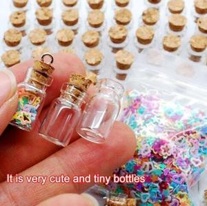 20pcs/lot 10x18mm Tiny Small Clear Wishing Glass Bottles glass Vials pendant With Wood Cork DIY jewelry pendant (no eye pin)
