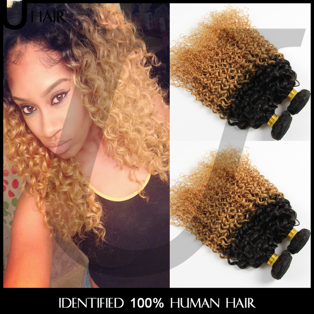 Brazilian Ombre Curly Hair Blonde Ombre Hair Extensions 3pcs Ombre