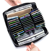 Genuine Leather Credit Card Holder Porte Carte Passport The Cover of Rfid Wallet Multi Large Capacity