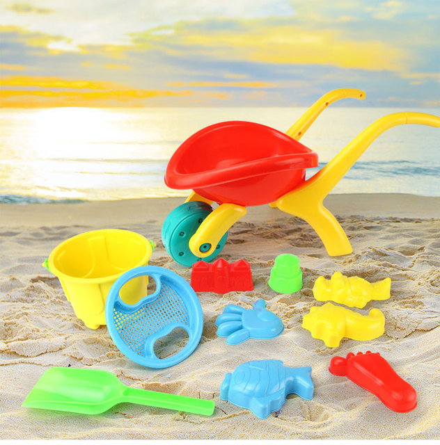 12pcs Kids Sandy Beach Toy Set 13pcs Dredging Tool Bucket Baby Playing With Sand Water
