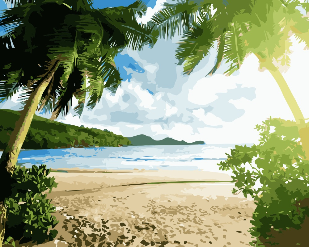 Online Shop MaHuaf-i063 Palm Trees Beach landscape Coloring By ...