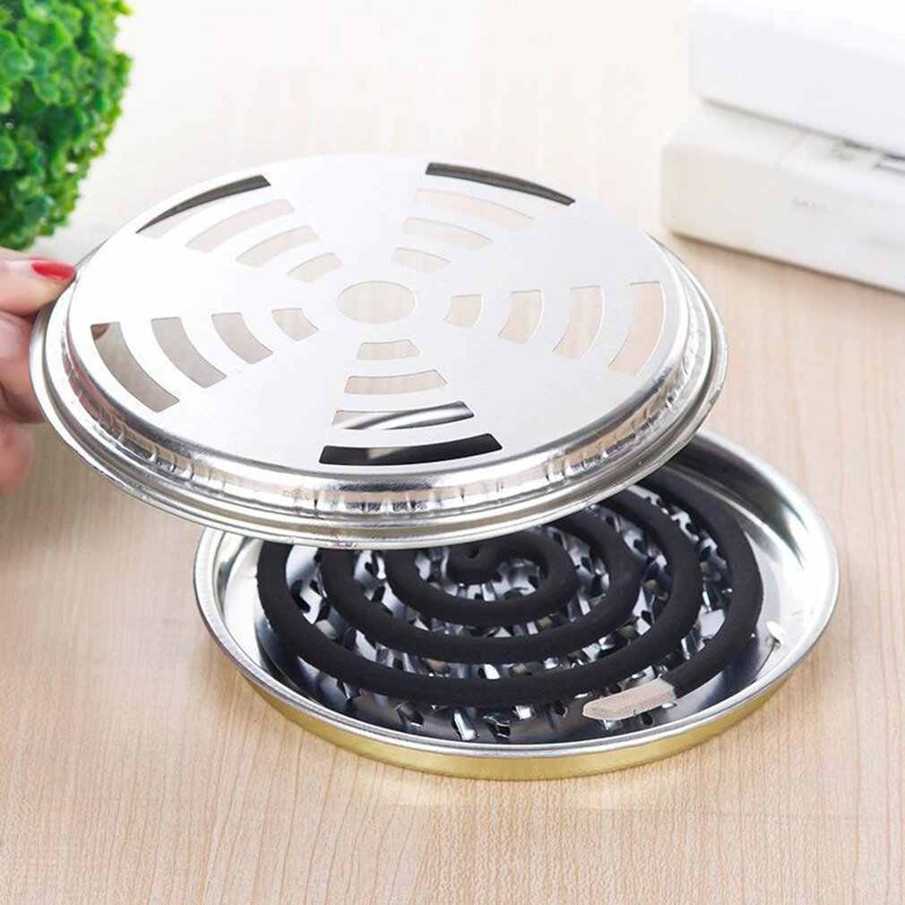 Mosquito Coil Holder Metal Mosquito Coil Holder Sandalwood Incense Coil Burner with Cover Portable For Livingroom Hotel