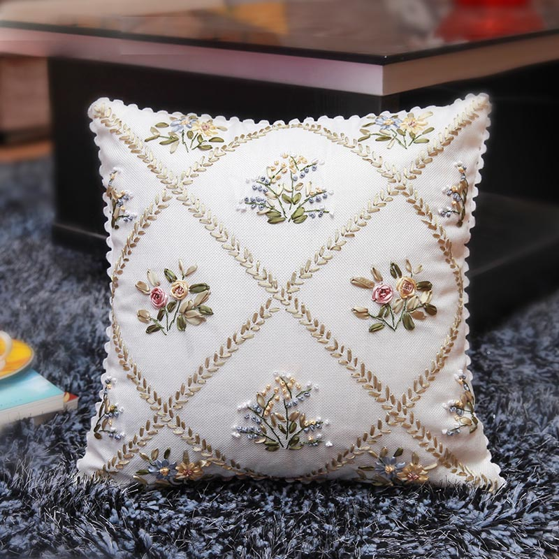 European-style Garden Ribbon Embroidery Kit Toolkit Cushion Covers Pillow Cover Fashion Home Unfinished Handmade DIY Crafts Gift