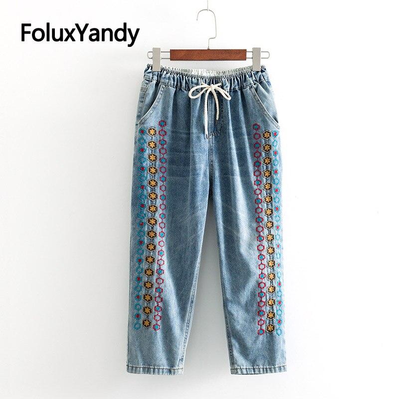 Casual Embroidery   Jeans   Elastic Waist Loose Trousers Women Harem Pants Plus Size XXXL Ankle-length   Jeans   Blue KKFY3317