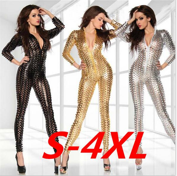 Plus 3XL XXXXL Size sexy valentine's Women's Hollow Out PVC Leather Catsuit Party Dress Fancy party carnival Costume
