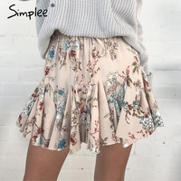 Simplee Elastic Floral Print Mini Skirt Women Ruffle A Line Short Skirt Female Causal Streetwear High