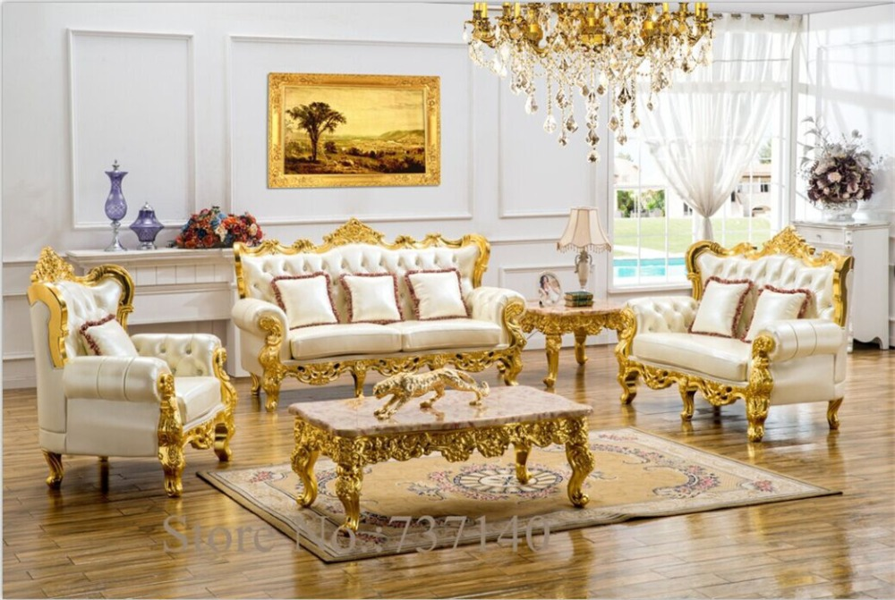 Antique Leather Sofa Living Room Sectional European Style Solid Wood Carving Buying Agent Wholesale Price
