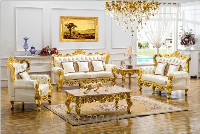 antique leather sofa living room sofa sectional sofa European style leather sofa solid wood carving ing