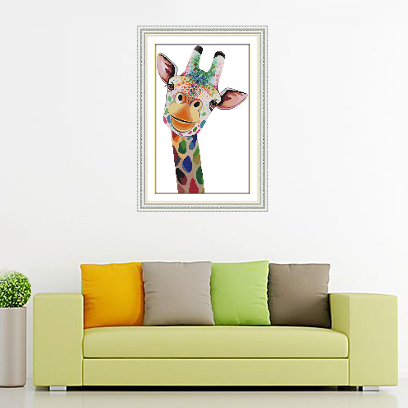 Joy Sunday jirafa patrones contados Cruz puntada kit DIY hecho a ...