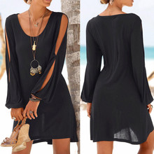 dress Fashion Women Casual O-Neck Hollow Out Sleeve Straight