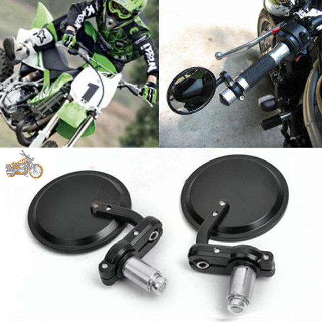 """Motorcycle Universal  Aluminum Rear View 3"""" Handle Bar End 7/8"""" Mirrors for Kawasaki Yamaha Honda Suzuki Motorcycle Chopper"""