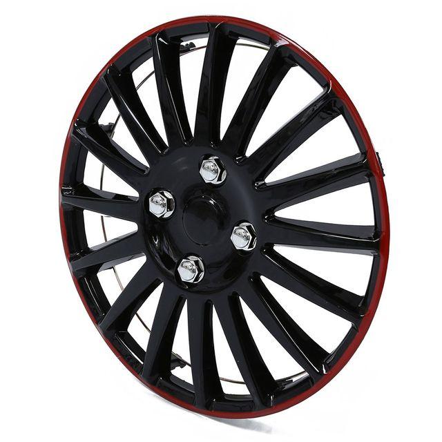 1 Pcs 15 Car Wheel Trims Hub Caps Plastic Covers Universal Black Red