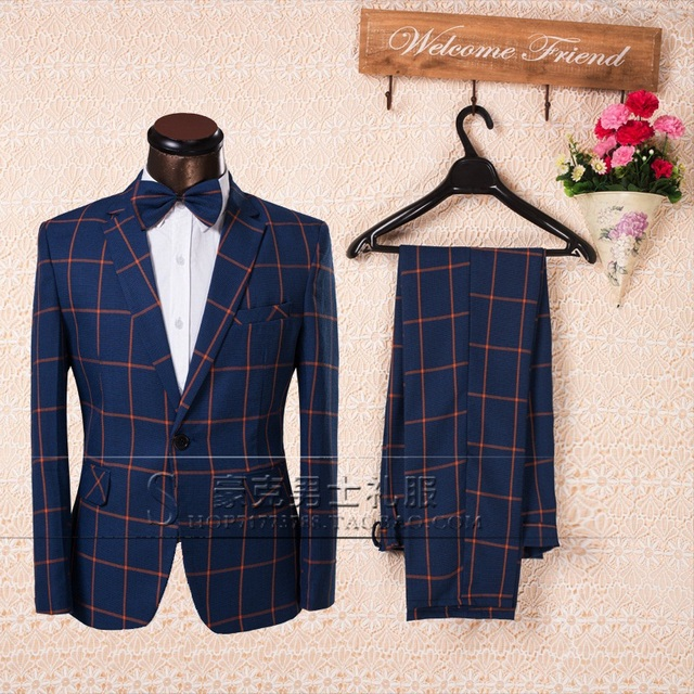 Custom ! New 2016 Fashion Plaid Mens Suits with Pants and Bow Tie Men's Groom Wedding Business Dress Suits Set