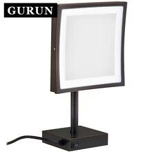 Gurun LED Make up Mirror LED light mirror 3X Magnifying Cosmetic Adjustable Countertop Makeup Mirror Free