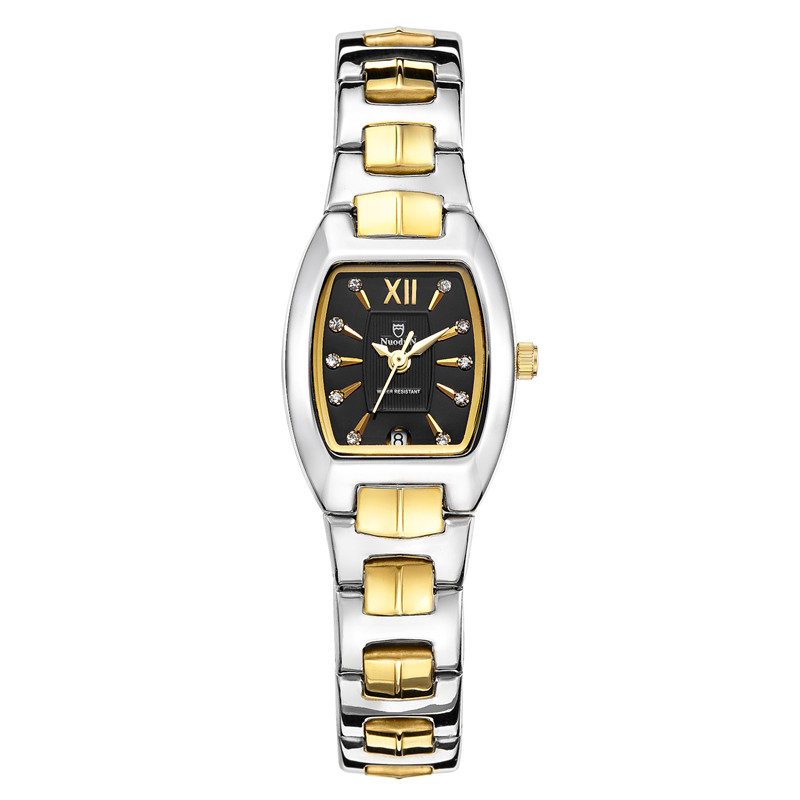 Nuodun Women Square Watches Water Resistant Stainless Steel Watch Waterproof Calendar Classic Quartz Watch Woman Relojes