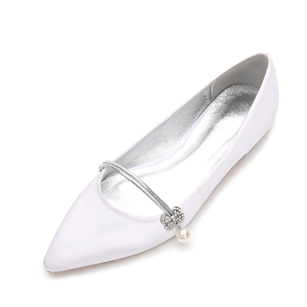 Creativesugar elegant pearl pendant flower crystal lady satin dress flat shoes sweet pointed toe flats bridal wedding low heels