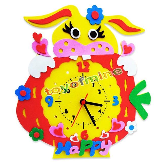 Handmade DIY 3D Cartoon Animal Learning Clock Kids Arts & Crafts ...