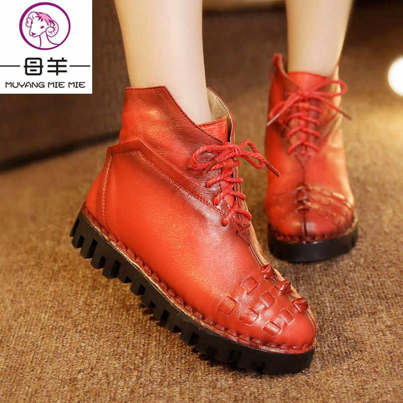 MUYANG Çin Markaları Kış Ayakkabı Kadın Hakiki Deri martin çizme kar botları artı kadife Sıcak halk özel Kadın Botları