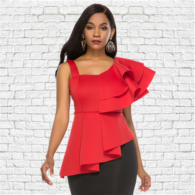 Women Blouse Tops Shirts Sexy Peplum Red Ruffles Irregular Sleeves Slim Party Wear 2019 Summer New Fashion Elegant Ladies Bluas