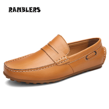 New Loafers Men's Leather Shoes Slip On Driving Shoe Non-slip Rubber Sole Moccasins Men Loafers Fashion Chaussure Homme