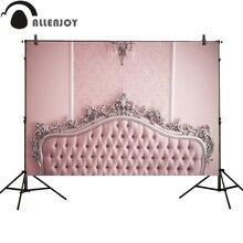 Allenjoy photography backdrop pink headboard vintage sliver damask new professional background photobooth original design