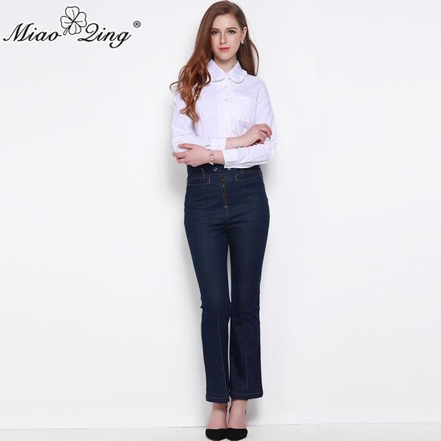 MIAOQING 2018 летние однотонные полной длины Для женщин брюки полиэстер Высокая Талия Для женщин Лидер продаж расклешенные брюки Винтаж Стиль свободные джинсы