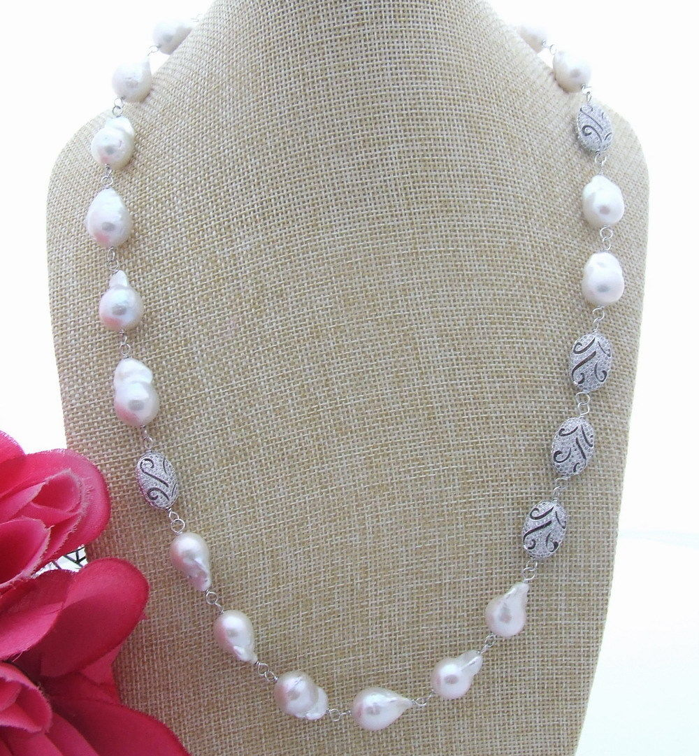 FC032813 24 12x16mm White Keshi Pearl NecklaceFC032813 24 12x16mm White Keshi Pearl Necklace