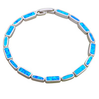 Office Style Blue Fire Opal Friendship Bracelets For Women Silver Stamped Anniversary Fashion Jewelry For Women